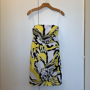 Express zebra style strapless dress